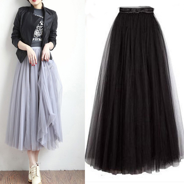 8f07c728c7 2017 long skirts for women autumn pleated skirt A word net Big Swing Maxi  Skirts Womens gray black