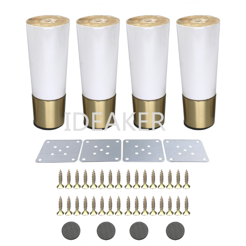 4PCS 4.8x12x3.6CM Furniture Legs Wooden copper Furniture Feet Cabinet Table Sofa Legs with Iron Pads Gaskets Screws 4pcs 150mm height furniture legs adjustable 10 15mm cabinet feet silver tone stainless steel leveling feet for table bed sofa