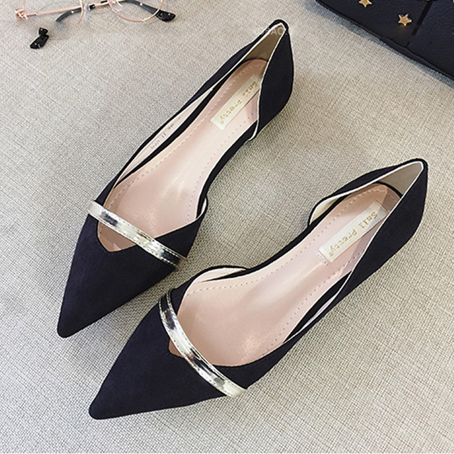 Korean Women Flat Shoes Suede Shallow Mouth Side Empty Pointed Toe Flats Black Casual Shoes OL Work Shoes Sapatos Femininos