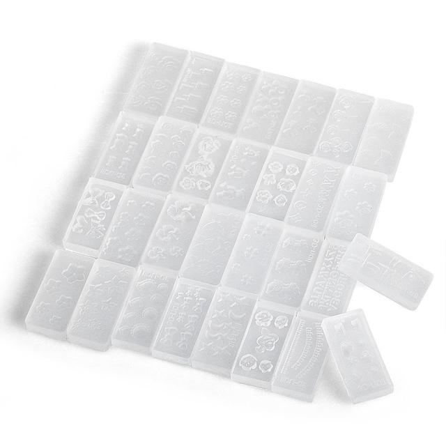 30 unids 3D Molde De Silicona Transparente Set para el Arte Del Clavo Inclina la Decoración de DIY