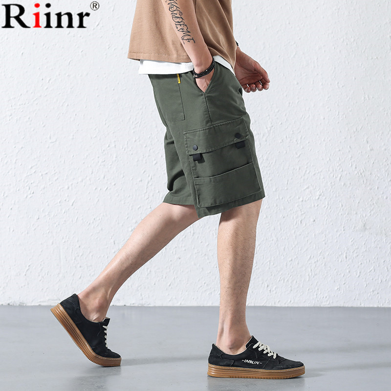 Riinr Tide Brand 2018 New Arrival Mens Shorts High Quality Japanese Style Solid Color Knee Length 100% Cotton Cargo Shorts Men