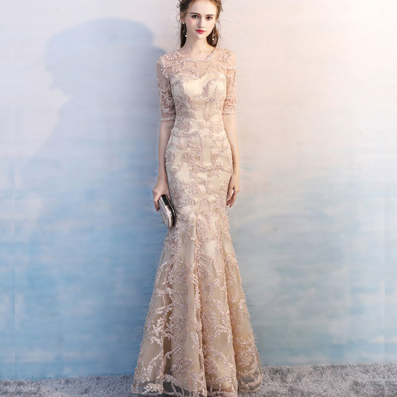 Evening dress mermaid long section 2019 new five point sleeve champagne gold charming round neck embroidery Robe De Soiree
