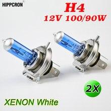 Hipcron h4 halogênio bulbo 12v 100/90w super branco 2 pçs escuro azul vidro base de aço inoxidável lâmpada do carro