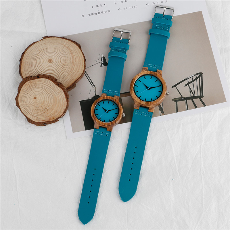 YISUYA Couple Watch Wooden Quartz WristwatchesGenuine Leather Band Blue for Men Women