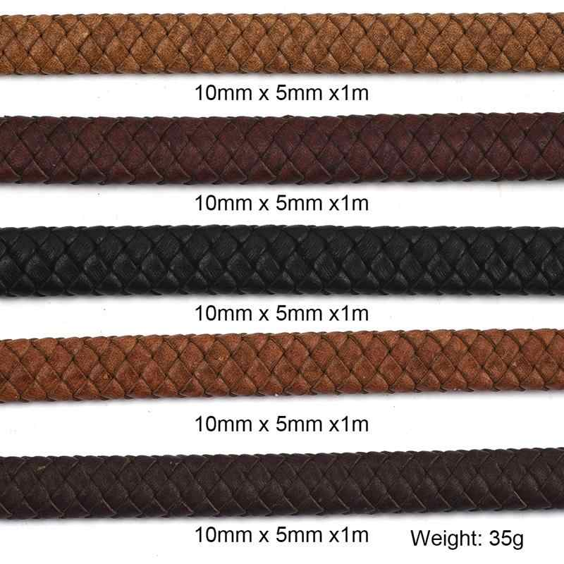 10*5mm Vintage Genuine Leather Braid Cord For DIY Men Bracelet Bangle Jewelry Flat Rope Accessories Findings Handmade Gift