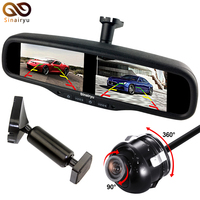 Sinairyu Optional quantity Front and Rear view conversion camera and 4.3 Inch Dual HD Display Screen Car Parking Mirror Monitor