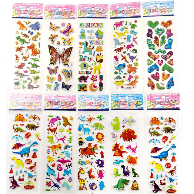 10sheets Different 3d Cute Stickers Toys Wall Sticker Funny Toy For