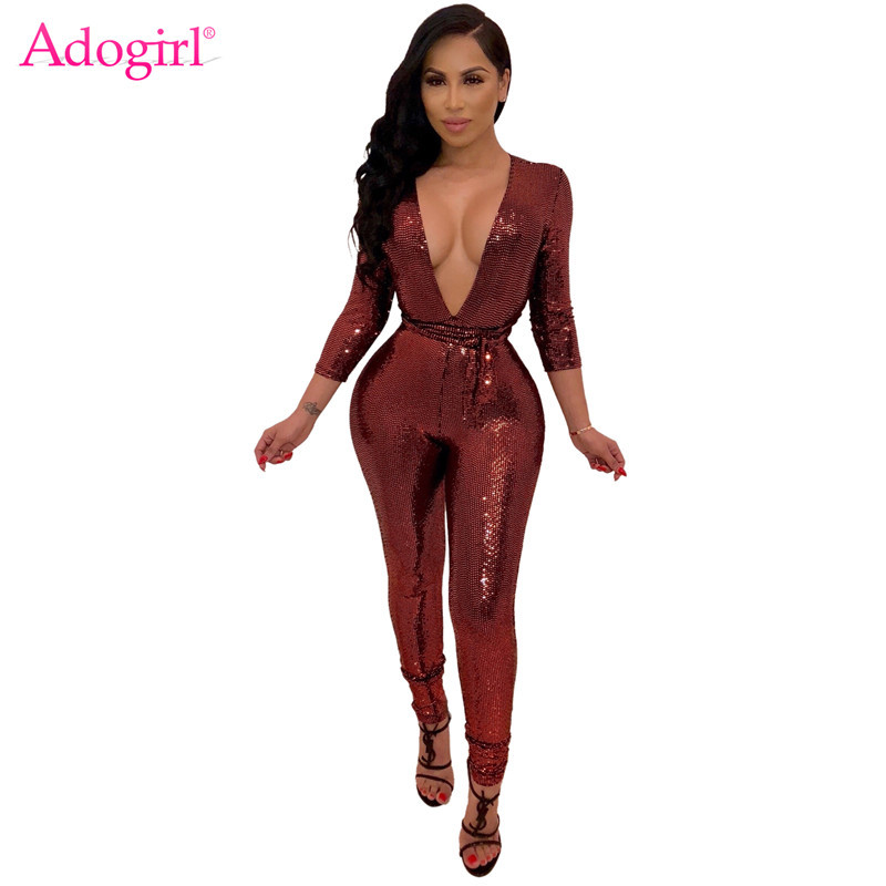 Adogirl Sparkle Sequins Club Party Bandage Jumpsuit Women Sexy Deep V Neck 3/4 Sleeve Skinny Romper With Belt Fashion Bodysuits