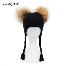 0861cd14c4e Winter Kids Knitted Hats Ear Protection Children Skullies Beanies Caps 1 to  3 Years old Baby Hat With Raccoon Fur Ball YWMQFUR