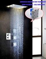 Dễ dàng Cài Đặt Với Nhúng Box LED Lớn Màu Vàng Đèn Shower Head Lượng Mưa Phòng Tắm Vòi Sen Vòi Mixer Set 002T-50X36L-3MF