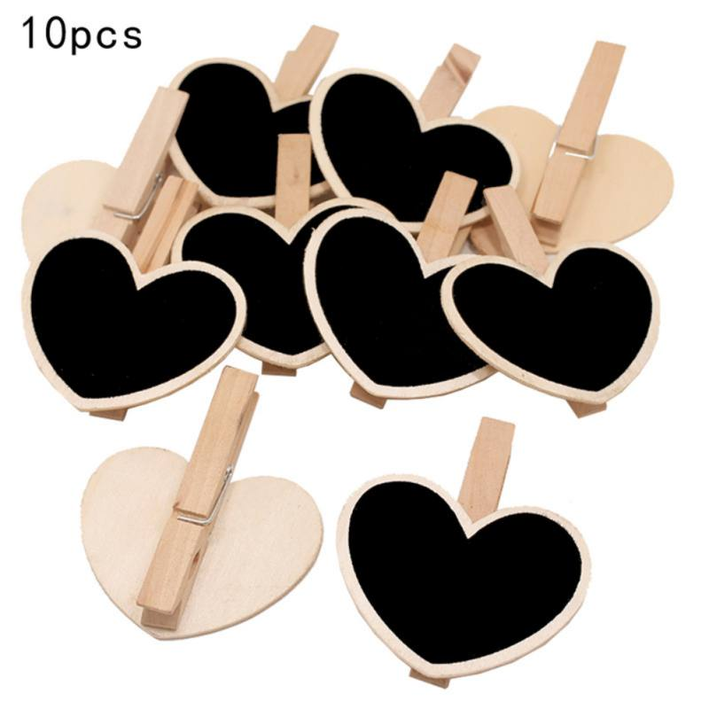 Love Heart Memo Messages Clip 10pc Handmade DIY Small Wooden Blackboard Clip Home Shop Wedding Decor Chalkboard Decorative