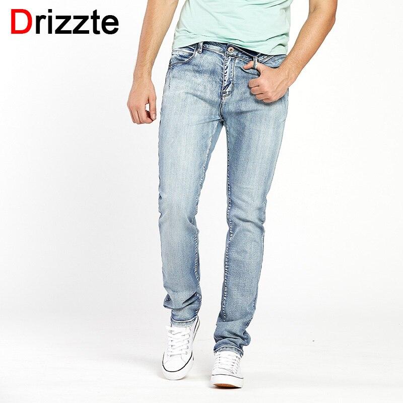 Drizzte Mens Light Blue Grey   Jeans   Men Slim Stretch Denim Trousers Pants Size 30 32 34 35 36 38 40 42 Fashion Denim