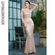 Love Lemonade Rose Gold Open Back Separate Sleeve Elastic Sequins Long Dress e7d3189ca0b8