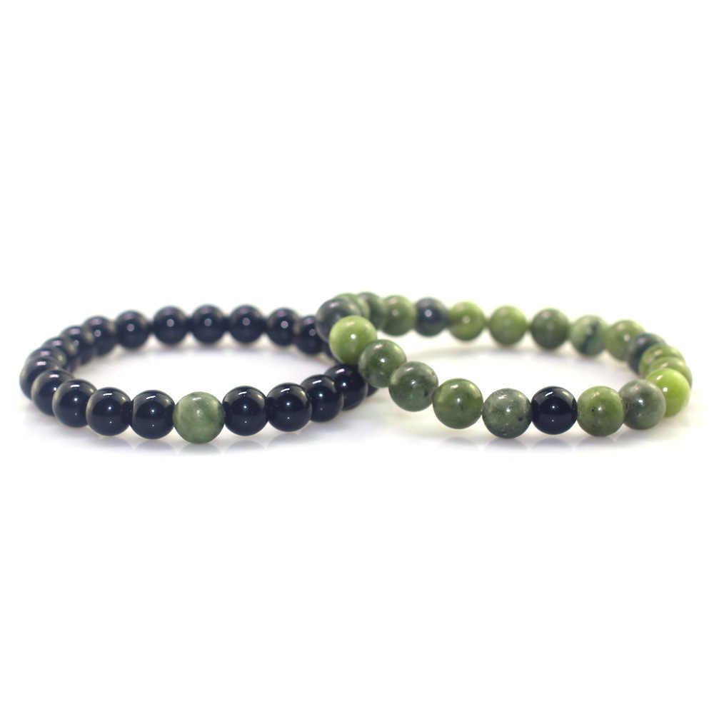 Green Peridot Black Light Stone Natural Stone Bracelet 8MM Single Circle Fashion Men Women Couple Beaded Natural Stone Bracelet