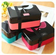 Contracted romantic couples type double bento box microwave food container microwave box 15*9.5*7.5cm free shipping