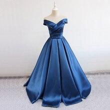 Gardenwed 2019 Blue Vintage Long Evening Dress Elegant Off the Shoulder Satin Woman Formal Gown Dresses abiti da sera