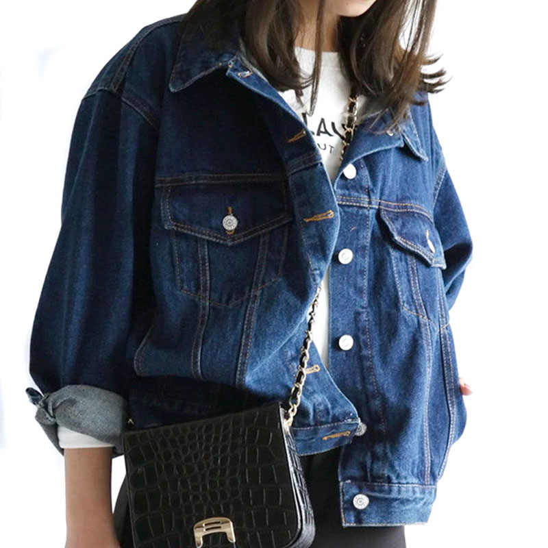 Fashion Korean Spring Autumn Women Lady Jeans Coat Long Sleeve Vintage Denim Jacket Loose Casual Coats Girls Outwear HSJ88