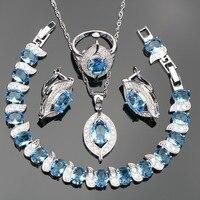 Bleu clair Zircon Argent 925 Ensembles de Bijoux de Costume Femmes Charmes Bracelets Boucles D'oreilles Pendentif Collier Bague Bijoux Cadeau Boîte