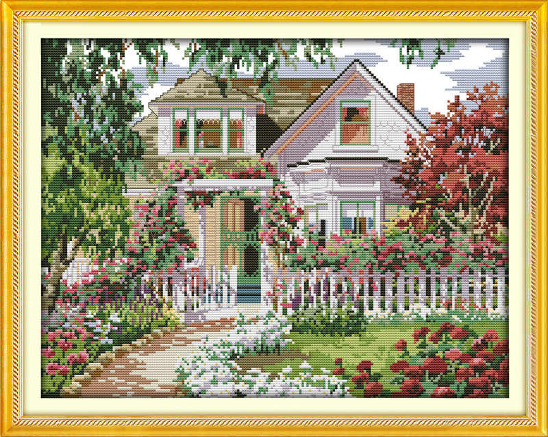 Nice Garden Villa Gogh Printed Canvas DMC Counted Chinese Cross Stitch Kits printed Cross-stitch set Embroidery Needlework