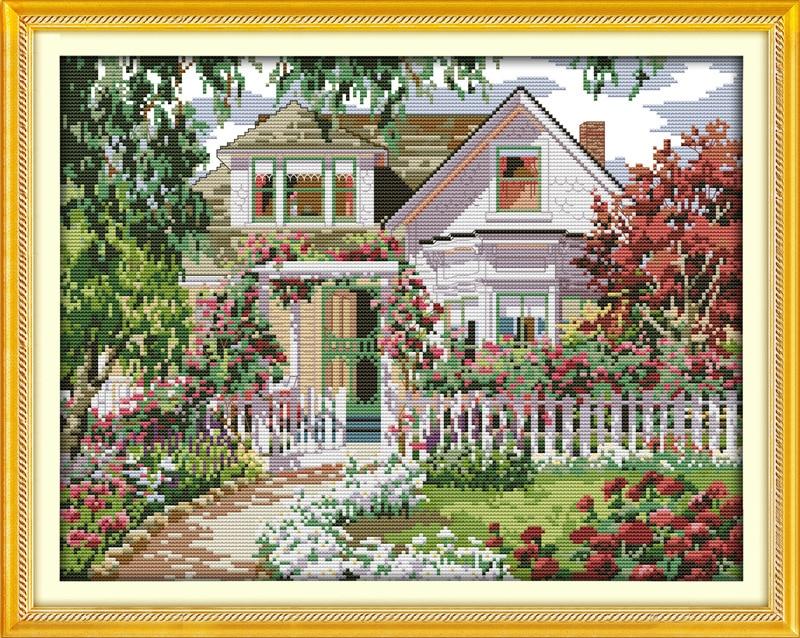 Nice Garden Villa Gogh Tryckt Canvastryck DMC Räknade Kinesiska Korsstygn Kits Tryckt Stygn Ställ Broderi Nålverk