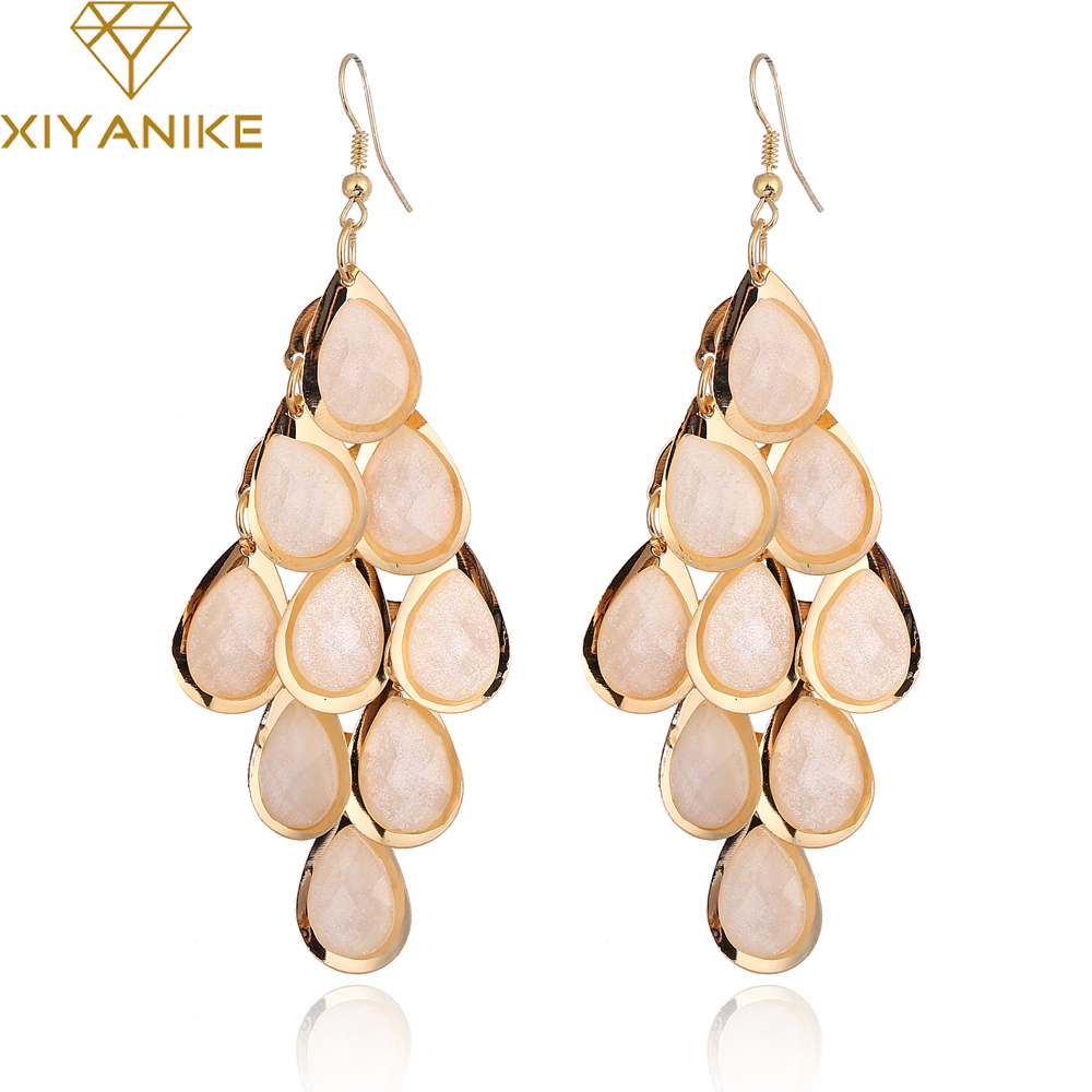 New Brand Fashion Hot Sale Vintage Multilayer Tassel Water Droplets Long Earrings for Women Jewelry boucle doreille XY-E347