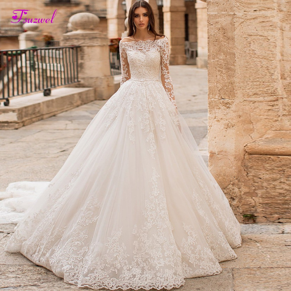 Fsuzwel New Boat Neck Appliques Long Sleeve A-Line Wedding Dress 2019 Luxury Crystal Sashes Princess Bride Gown Vestido De Noiva