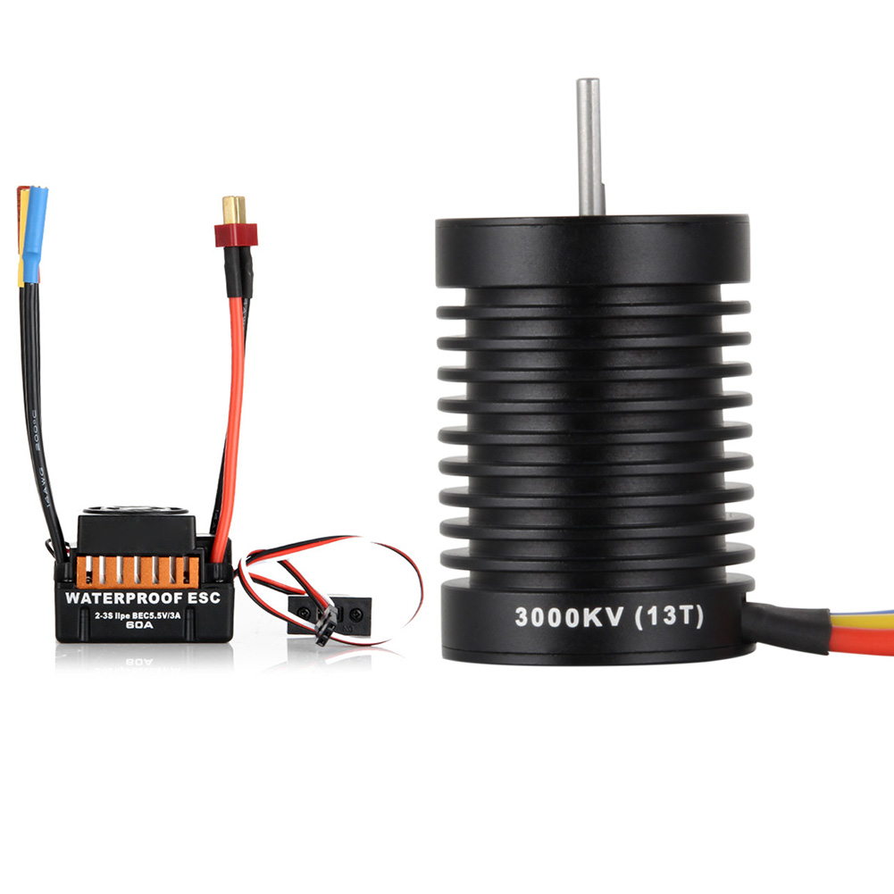 Waterproof 60A ESC + F540 13T 3000KV 4 Poles Brushless Motor Fits For 1/10 Drift RC Car Racing @ZJF 4set lot universal rc quadcopter part kit 1045 propeller 1pair hp 30a brushless esc a2212 1000kv outrunner brushless motor