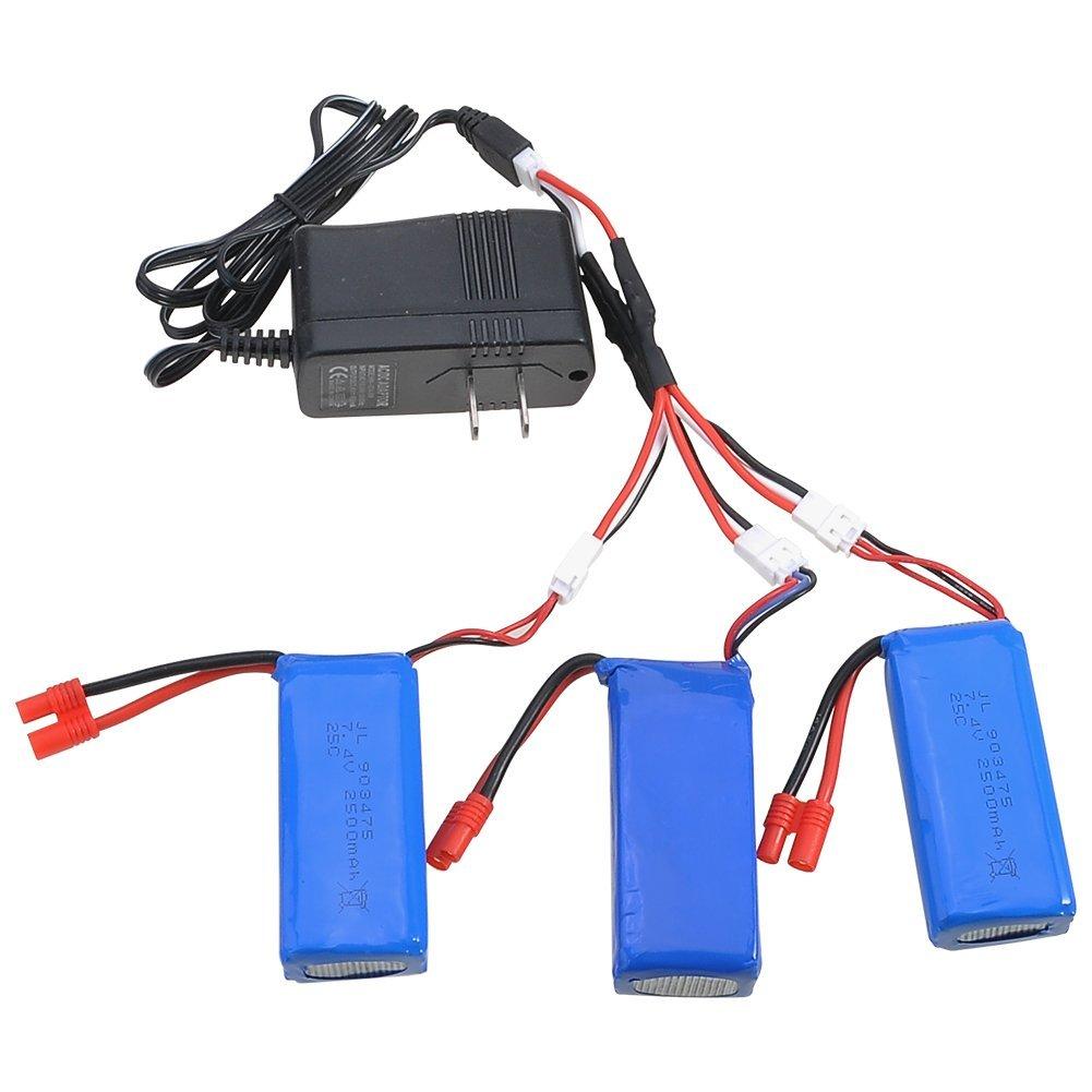 3 шт. Обновления 25C 7.4 В 2500 мАч Lipo Аккумулятор Для <font><b>Syma</b></font> <font><b>X8</b></font> X8C X8W X8G RC Drone Мультикоптер Запчасти + 3 В 1 Зарядный Кабель + Зарядное Устройство