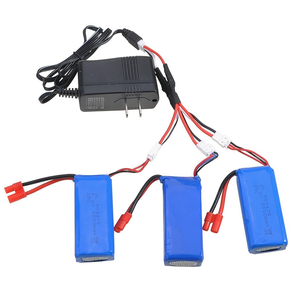 3pcs Upgrade 25C 7.4v 2500mah Lipo Battery For Syma X8 X8C X8W X8G RC Quadcopter Parts Drone + 3 In 1 Charge Cable+ Charger vho power syma x8w rc drone lipo battery 5pcs 2s 7 4v 2500mah and eu charger for syma x8c x8w x8g x8hg rc helicopter spare parts