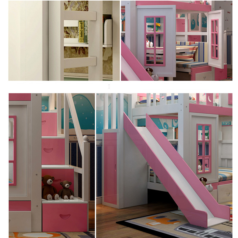 5  0128TB006 Fashionable kids bed room furnishings princess fortress with slide storages cupboard stairs double kids mattress HTB1gKeSoZLJ8KJjy0Fnq6AFDpXae