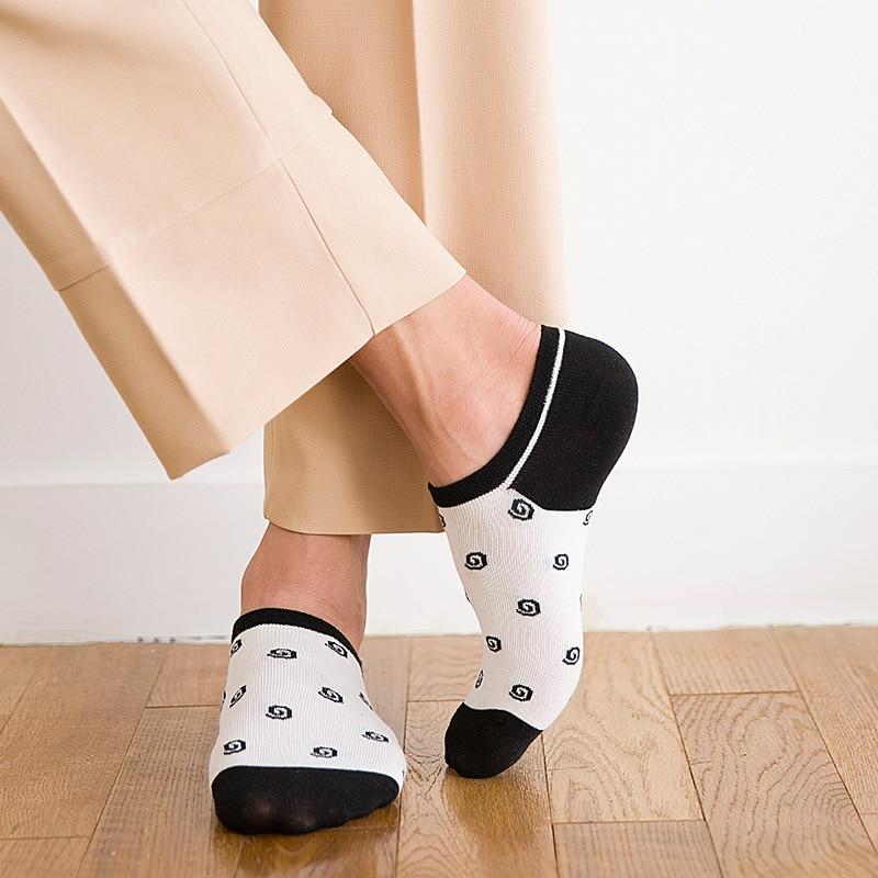 Black white printing Mens Socks Originality Art ankle boat sock Fashion Cotton Soft Comfortable funny happy Short Socks