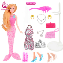 UCanaan Mermaid Dolls with 20 Accessories NEW Fashion Toys Doll Toy Long Thick Hair Joint Body
