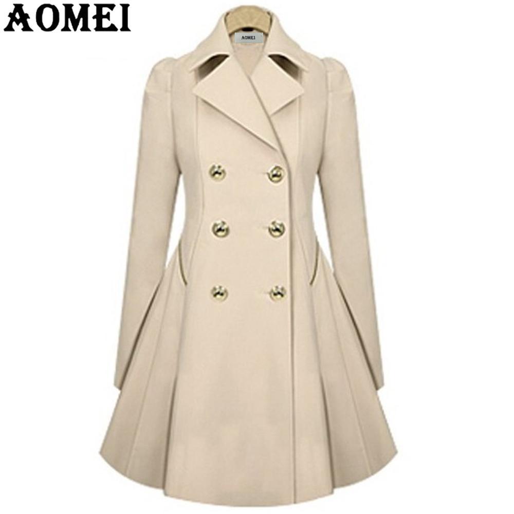 Женское весеннее Элегантное Длинное ветрозащитное пальто с двойной пуговицей, темно-синие однотонные топы с длинными рукавами, офисный женский зимний Тренч, верхняя одежда - Цвет: Бежевый