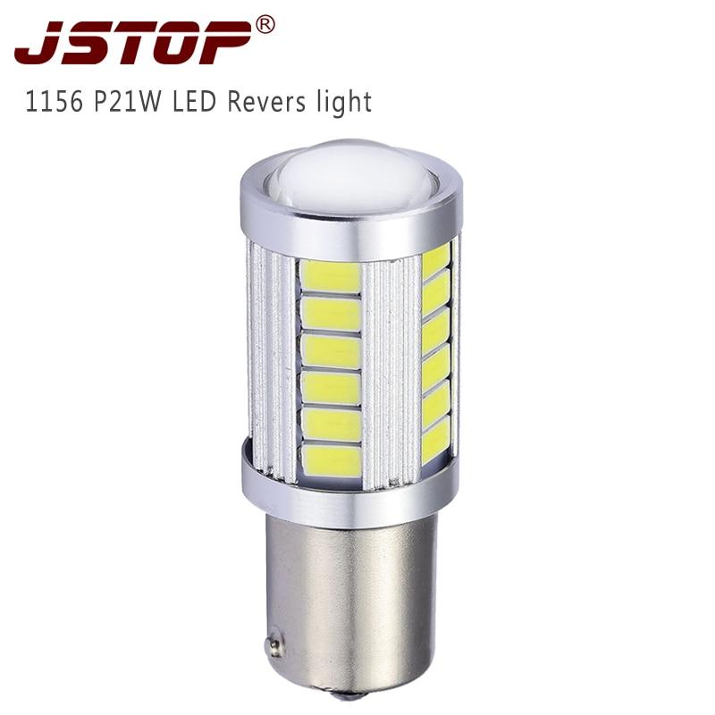 JSTOP Ba15s P21W led lámpa auto 5730SMD 1156 fehér 6000k autós led 12-24 V Canbus Hátsó izzók led Külső lámpák led Fordított lámpa