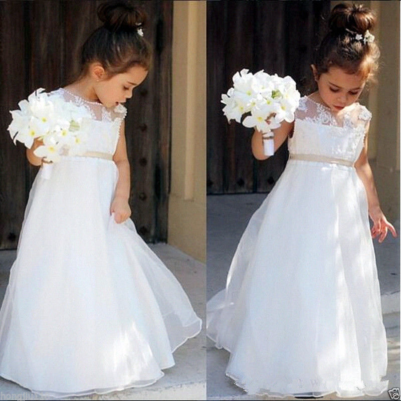 цена на Long Lace Flower Girls Dresses For Wedding Tulle First Communion Dresses for Girls A-Line Mother Daughter Dresses For Girls