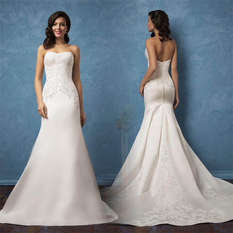 Strapless Mermaid Wedding Gown: Strapless Satin Mermaid Wedding Dresses With Vintage