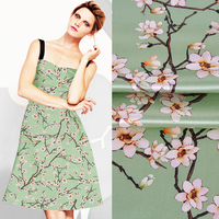 140CM Wide 40MM White Floral Print Light Green Silk Wool Fabric for Autumn Spring and Autumn Dress Coat Jacket Pants JH127
