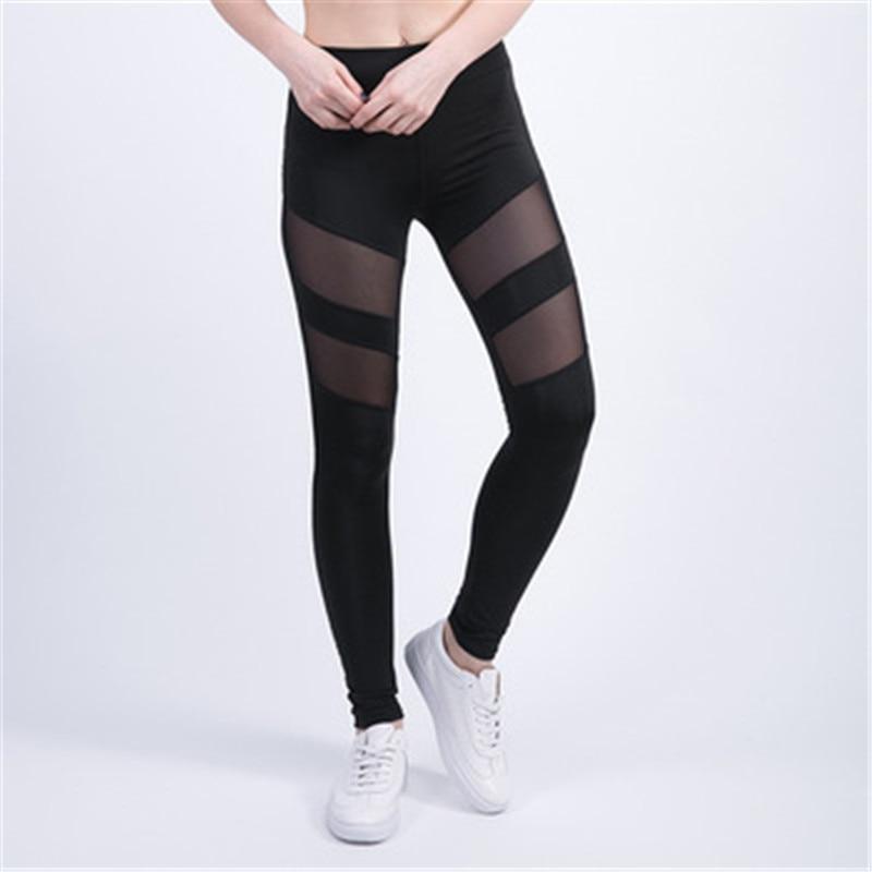 Фабрика OEM Быстрая доставка торговли обеспечение) Activewear Черные Сетчатые женские фитнес-Леггинсы