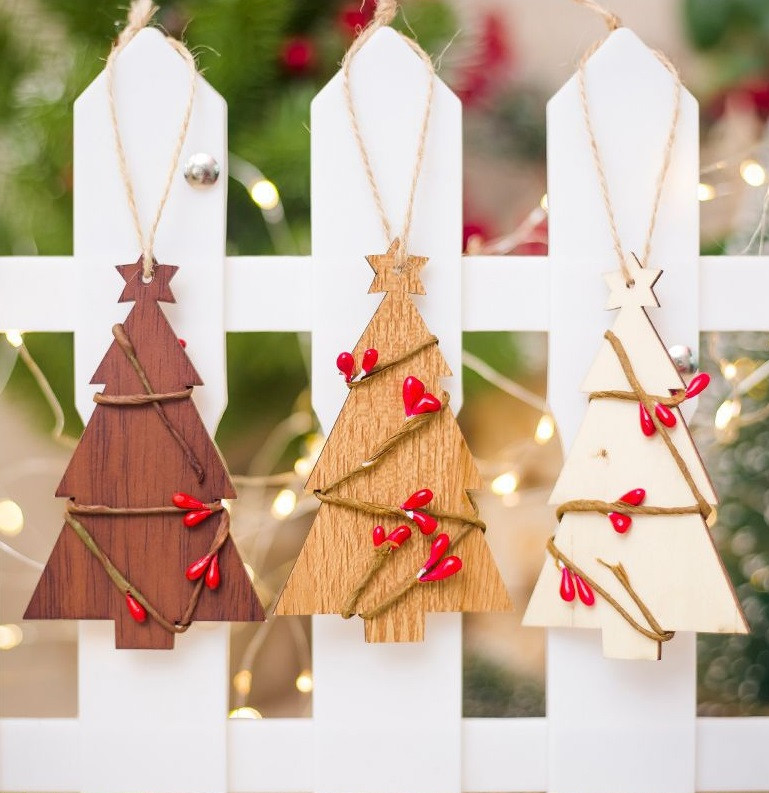 Christmas Decorations 6 Patterns Star Heart Bells Meteor Christmas Tree Wooden Hanging Wooden Ornaments Party For Home Christmas Festive & Party Supplies