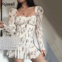 Yojoceli 2019 summer palace floral dress women square neck puff sleeve mini dress boho beach dress