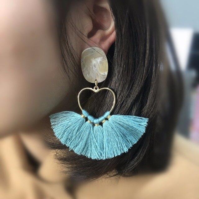 Gufecouro l124/5.5cm coração borla/jóias acessórios/brincos/anel de metal borla/brinco/diy artesanal/2 peças