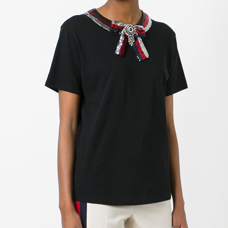 2018 New Runway Designer Black Top Tees Women's Shirt Luxury Beading Sequins Bow Tie Short Sleeve Cotton Casual female T shirt