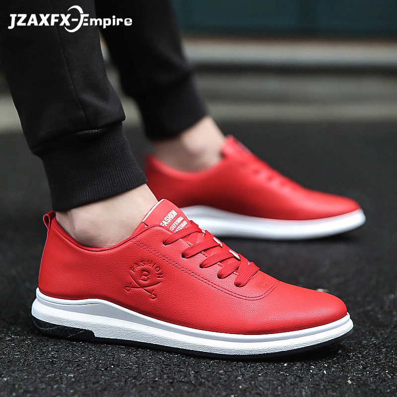 Men Casual Shoes Fashion PU Leather Flat Shoes Lace-Up Solid Sneaker Summer Footwear Comfortable Men Casual Shoes