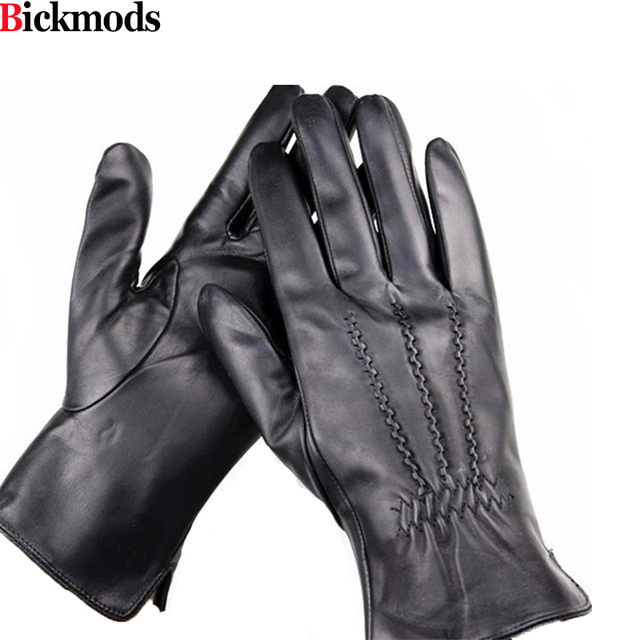 1b19c069157c6 male sheepskin Imported leather gloves soft and delicate high-grade leather  gloves geometric pattern style velvet lining warm