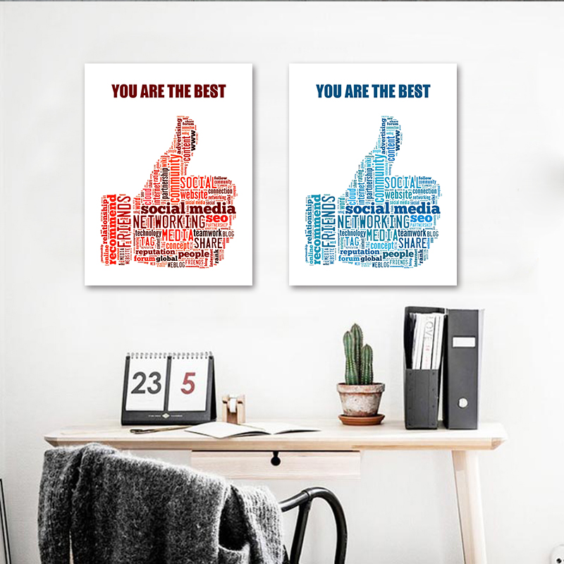 Creative Office Picture Painting Inspiring Letters Study