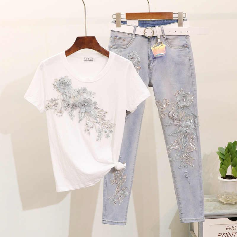 Sommer Bleistift Hose Set Dame 2019 Mode Stickerei Pailletten Blume Kurzen ärmeln T-shirt + Loch Jeans Zwei-stück anzug für Frauen