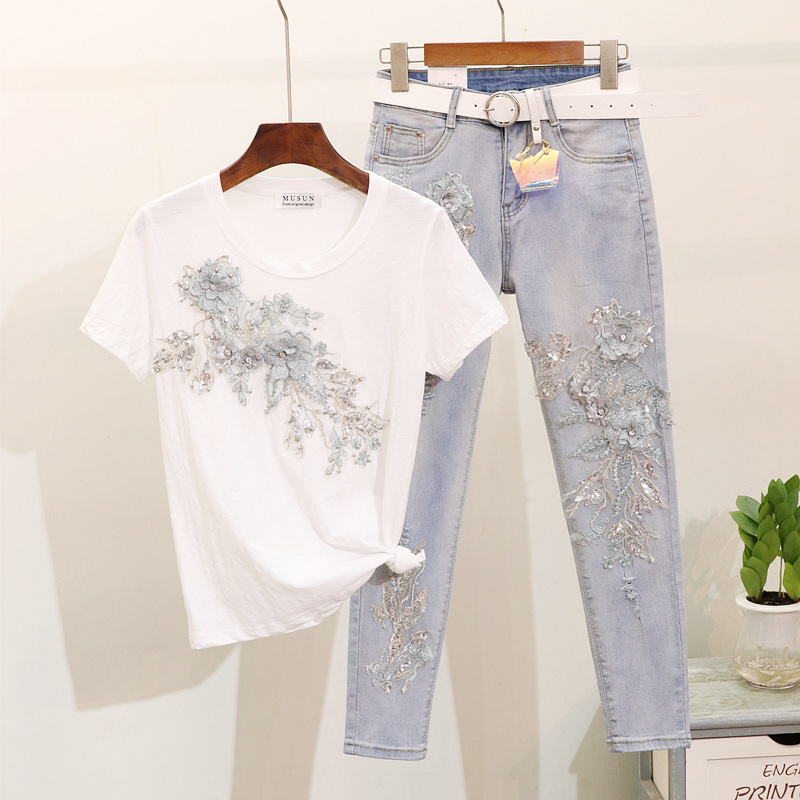 Summer Pencil Pants Set Lady 2019 Fashion Embroidery Sequin Flower Short-sleeved T-shirt + Hole Jeans Two-piece Suit For Women