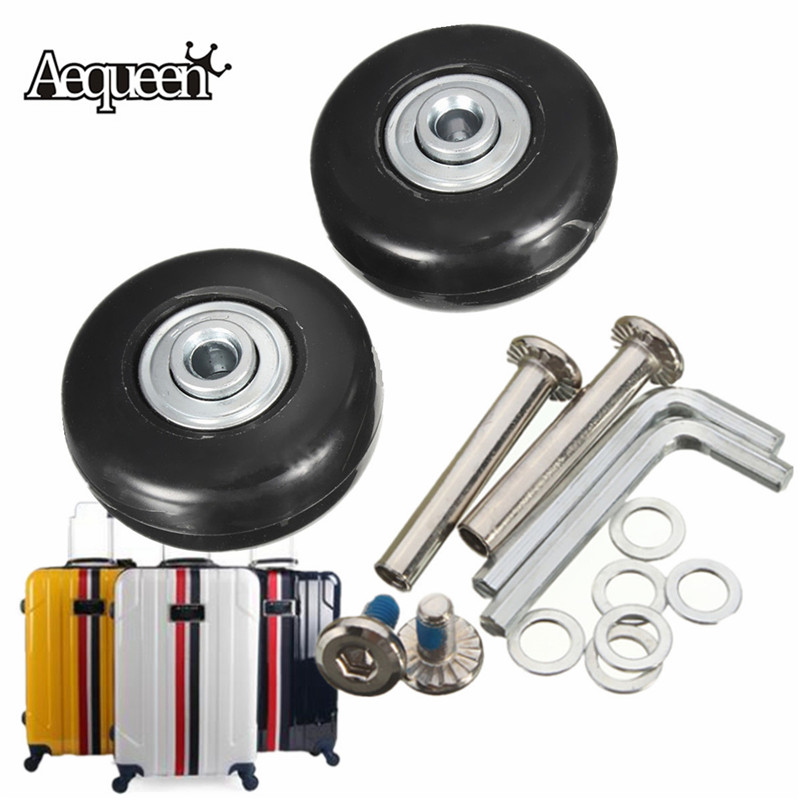 AEQUEEN 1 Pair Luggage Wheels OD 43 ID 6 W 18 Axles 35 Repair Set Suitcase Replacement Rubber Luggage Wheels 43X17mm
