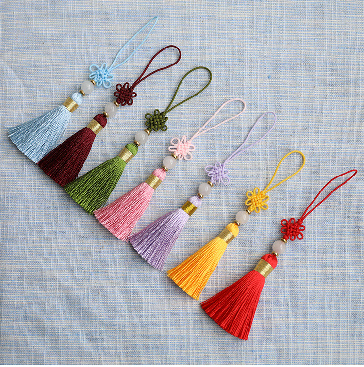 Chinese Knot Tassel with Jade Silk Fringe Bangs Flower Tassel Trim Decorative Garment fo ...