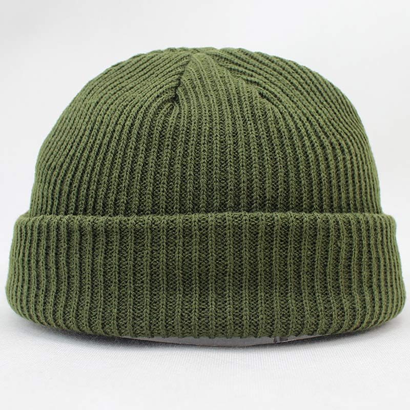 Short Design Warm Knitted Solid Hat Women Men Cable   Beanie   Unisex Cap Fashion Hip-hop   Skullies